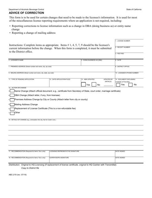 Form ABC-219 Printable Pdf