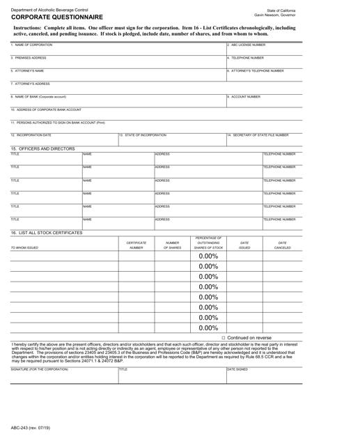 Form ABC-243  Printable Pdf