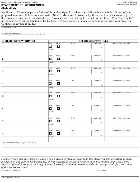 Form ABC-247 Printable Pdf