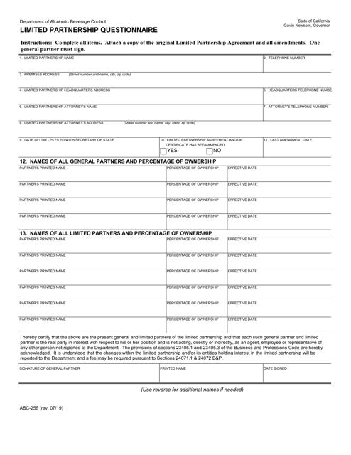 Form ABC-256  Printable Pdf
