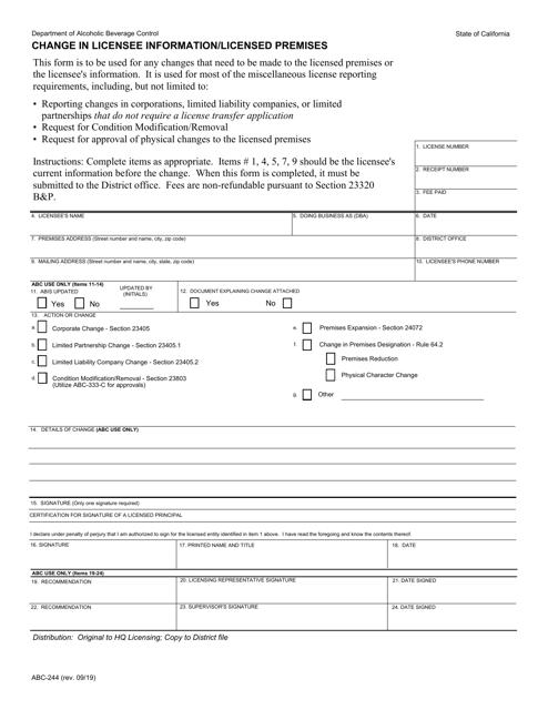Form ABC-244  Printable Pdf
