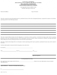 "Form ABC-275 ""Declaration and Request for Interim Operating Permit"" - California, Page 2"