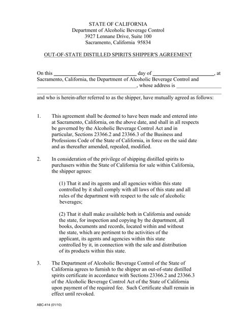 Form ABC-414 Printable Pdf