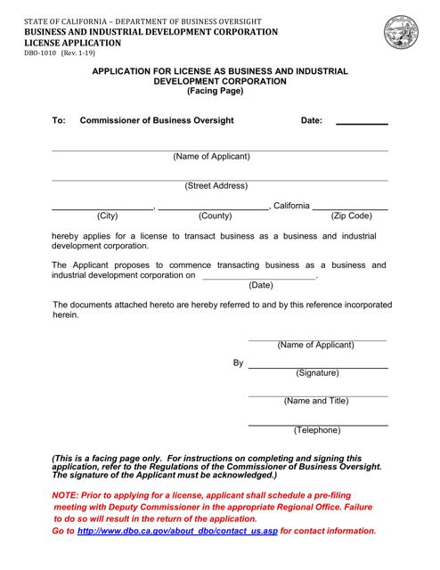 Form DBO-1010  Printable Pdf
