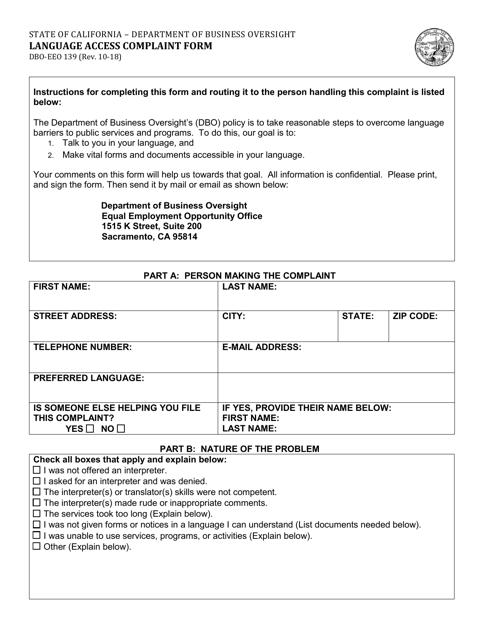 Form DBO-EEO139  Printable Pdf