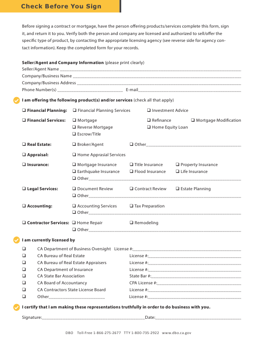 California Check Before You Sign Download Printable Pdf Templateroller