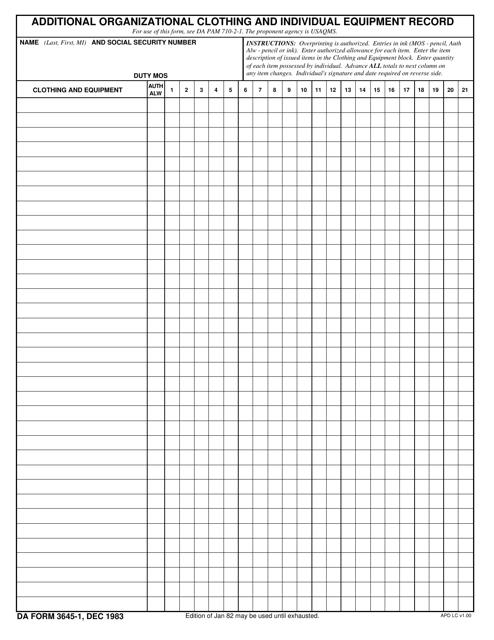 DA Form 3645-1 Fillable Pdf