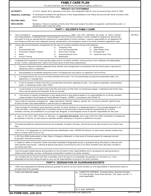 DA Form 5305 Fillable Pdf