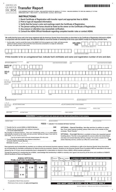 Transfer Report Form Aqha Download Fillable Pdf