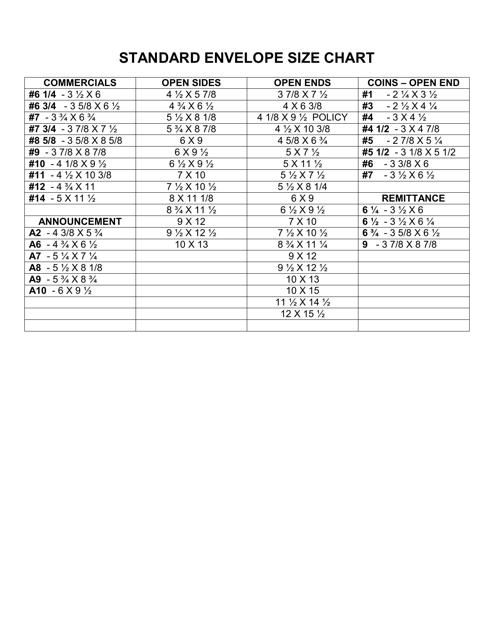 standard envelope size chart download printable pdf templateroller