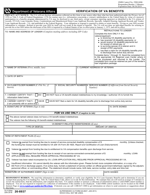 VA Form 26-8937 Fillable Pdf