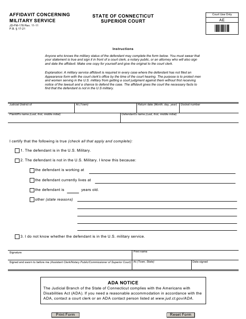 Form JD-FM-178  Printable Pdf