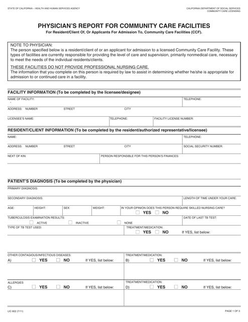 Form LIC602  Printable Pdf