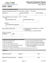 """Form CALHR619 """"Retirement Designation Request"""" - California"""