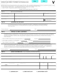 "Form STD.703 ""Vision Plan Direct Payment Authorization"" - California"