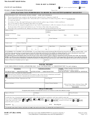 """Form DLSE-277 """"Application for Permission to Work in the Entertainment Industry"""" - California"""