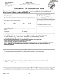 """DLSE Form 117 """"Application for Sheltered Workshop License"""" - California"""