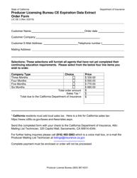 "Form LIC DE3 ""Producer Licensing Bureau Ce Expiration Data Extract Order Form"" - California"
