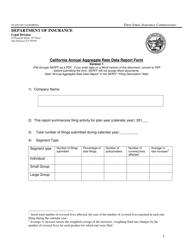 """California Annual Aggregate Rate Data Report Form"" - California"