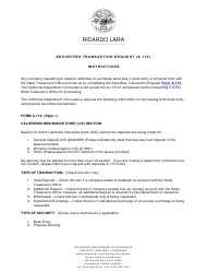 """Instructions for Form A-174 """"Securities Transaction Request"""" - California"""