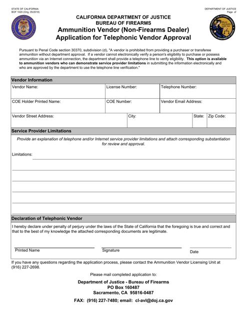 Form BOF1020  Printable Pdf