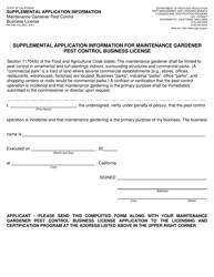 "Form PR-PML-143 ""Supplemental Application Information for Maintenance Gardener Pest Control Business License"" - California"