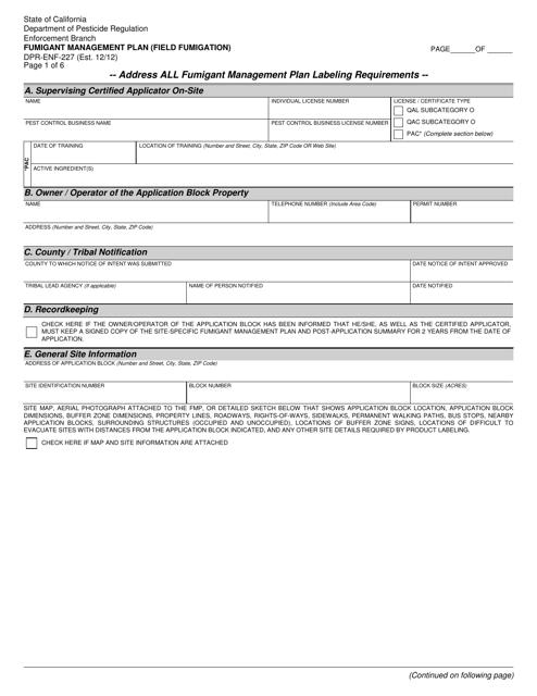 Form DPR-ENF-227  Printable Pdf