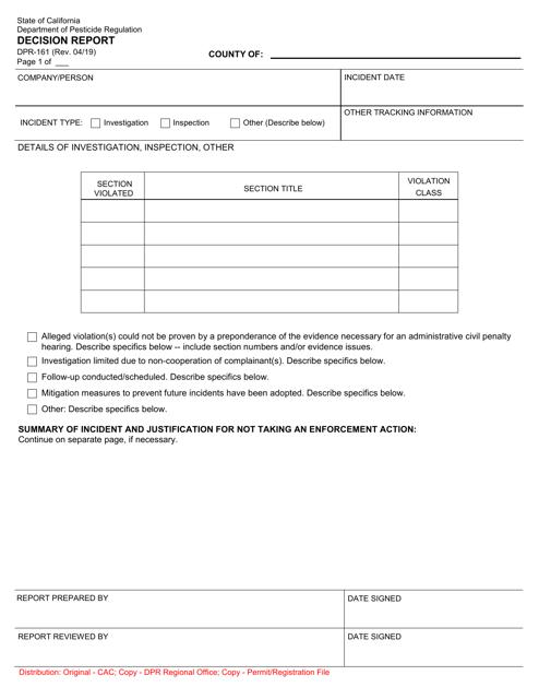 Form DPR-161 Printable Pdf