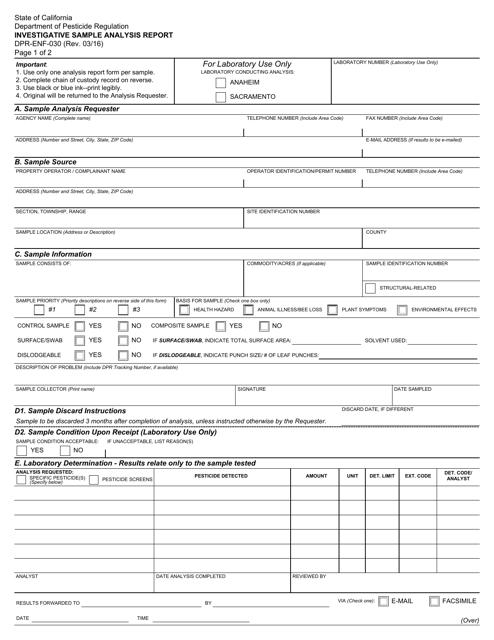 Form DPR-ENF-030  Printable Pdf
