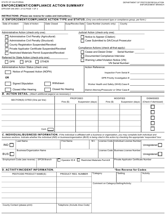 Form DPR-ENF-046  Printable Pdf
