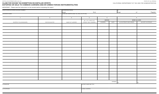 Form CDTFA-244-B Printable Pdf