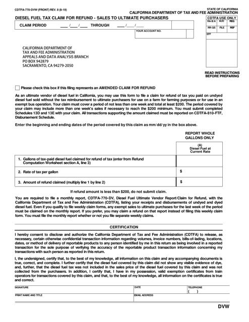 Form CDTFA-770-DVW Printable Pdf
