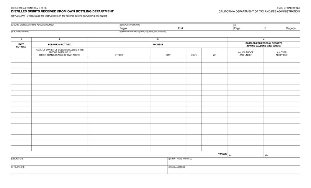 Form CDTFA-240-A  Printable Pdf