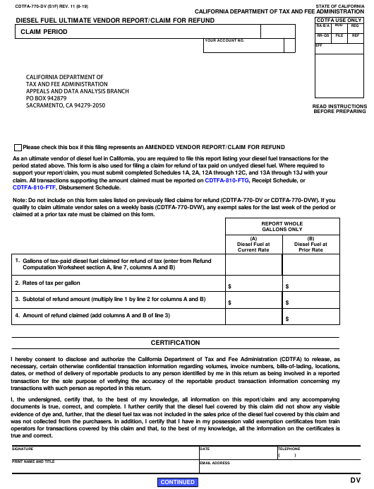Form CDTFA-770-DV  Printable Pdf