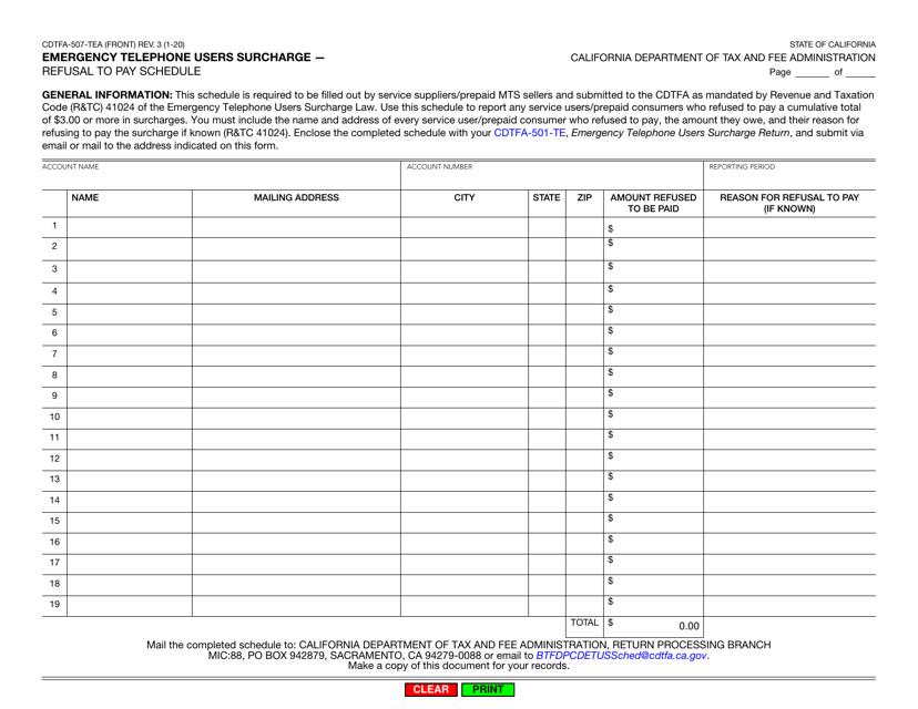 Form CDTFA-507-TEA  Printable Pdf