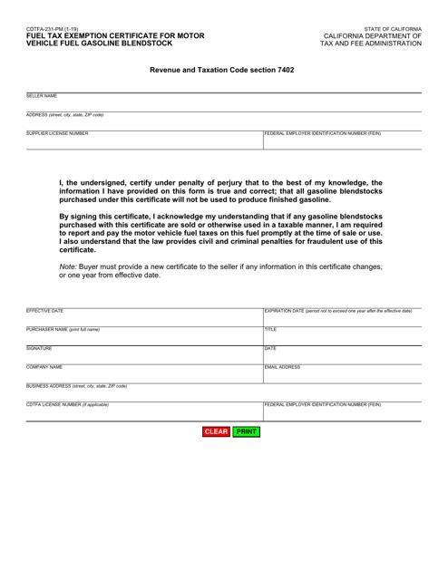 Form CDTFA-231-PM  Printable Pdf