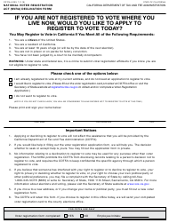 "Form CDTFA-6 ""National Voter Registration Act (Nvra) Declination Form"" - California"