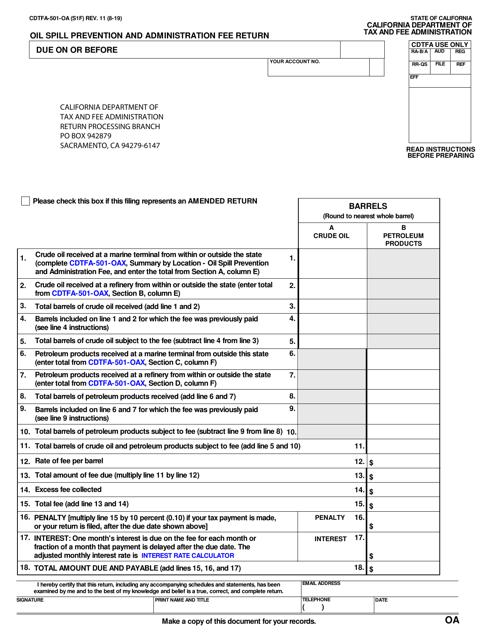 Form CDTFA-501-OA Printable Pdf