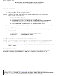 """Form CDTFA-501-MIT """"Manufacturer/Importer Report of Nontaxable Sales of Tobacco Products"""" - California, Page 4"""