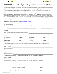 """DTSC Form 1430 """"Certified Appliance Recycler Waste Management Certification"""" - California"""