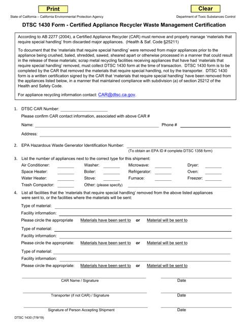 DTSC Form 1430 Printable Pdf