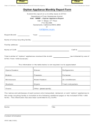 """DTSC Form 1468 """"Orphan Appliance Monthly Report Form"""" - California"""