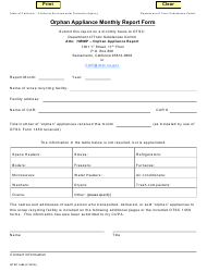"DTSC Form 1468 ""Orphan Appliance Monthly Report Form"" - California"