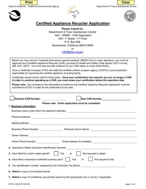 DTSC Form 1428 Printable Pdf