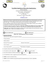 """DTSC Form 1428 """"Certified Appliance Recycler Application"""" - California"""