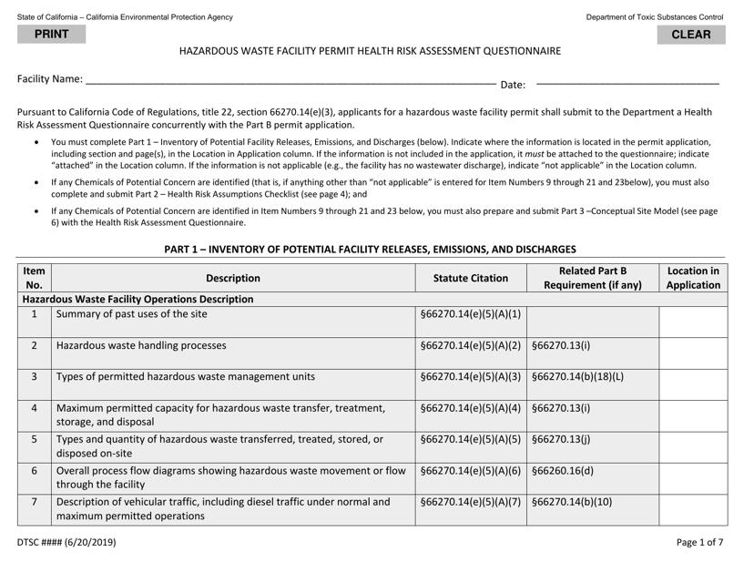 """Hazardous Waste Facility Permit Health Risk Assessment Questionnaire"" - California Download Pdf"