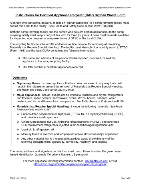 DTSC Form 1459 Printable Pdf