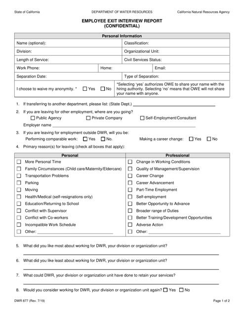 Form DWR877  Printable Pdf