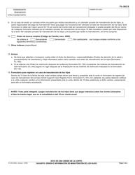 """Formulario FL-342 S """"Adjunto: Orden E Informacion De Manutencion De Los Hijos"""" - California (Spanish), Page 3"""