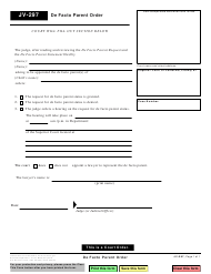 "Form JV-297 ""De Facto Parent Order"" - California"